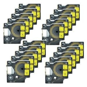20 Heat Shrink Tube Label Ind Tape Black On Yellow18054 For Dymo Rhino 4200 3 8