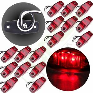 16pcs Clearance Light Side Marker Red Lens 2 Led Waterproof For Pickup Truck