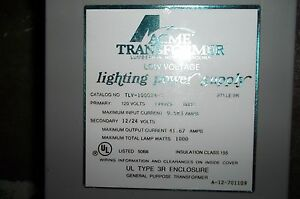 Acme 1ph Low Voltage Transformer 3r Cat Tlv 100024 s
