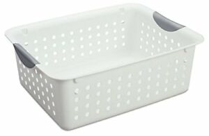 Sterilite Medium Ultra Basket Plastic Storage Bin Organizer White pack Of