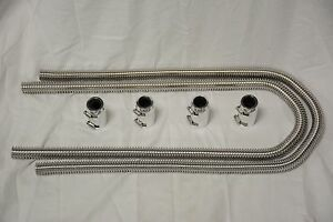 Stainless 44 Flexible Heater Hose Kit W Polished End Caps Street Hot Rod Hoses