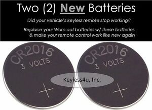 Lot 2 Replacement Battery Cr2016 Keyless Entry Remote Fob 04759008 Transmitter