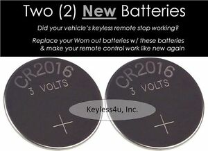 New Lot 2 Replacement Cr2016 Cr 2016 Battery Keyless Remote Control 10205241