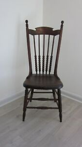 2 Solid Oak Spindle Back Chairs