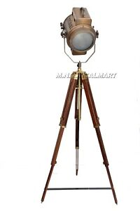 Hollywood Floor Lamp Vintage Style With Wooden Tripod Large Retro Led Lamp Deco