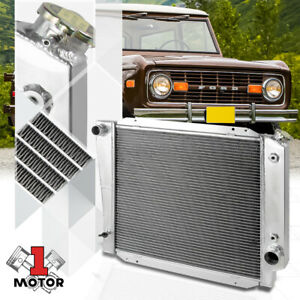 Aluminum 3 Row Core Performance Cooling Radiator For 66 77 Ford Bronco 5 0 V8