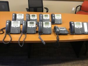 Cisco Ip Phone Lot Of 9 Spa509g Phones 1 Phone With Spa500s Sidecar Working
