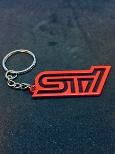 Subaru Sti Wrx Key Chain Stainless Steel With Key Ring Red