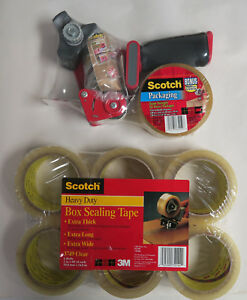 Scotch 3m Heavy Duty Box Carton Sealing Clear 6 Rolls 2 Tape Gun