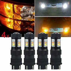 4x White Yellow 3157a 4157na Led Switchback Turn Signal Parking Light Bulbs Kx