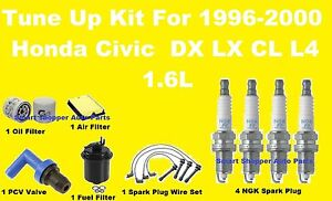 1996 2000 Honda Civic Lx Dx Cx Tune Up Kit Spark Plug Wire Set Air Oil Filter