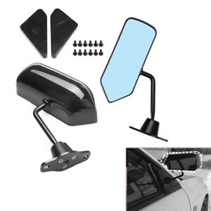 2pcs Universal F1 Style Rearview Side Mirror Wing Mirror Convex Glass Black Well