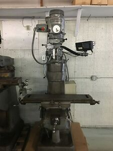 Bridgeport Milling Machine With Dro 4 Riser Block And Chrome Ways