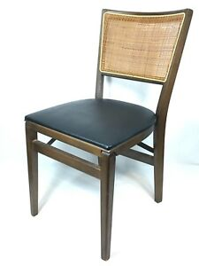 Vintage Mid Century Modern Stakmore Folding Caned Back Dining Chair Black Wolden