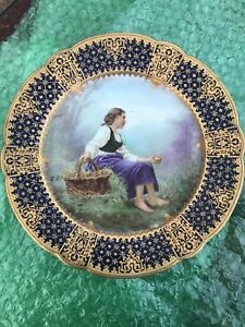 Rare Signed Charles Pillivuyt Co 1867 Medaille D Or Hand Painted Portrait Plate