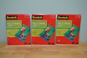 Lot Of 3 Scotch Self sealing Laminating Sheets 6 0 Mil 8 5 X 11 10 In Each Pack