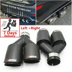 2pcs Universal Id 2 5 Od 3 5 Akrapovic Carbon Fiber Exhaust Tip Dual End Pipes