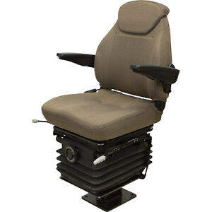 K M 6839 Fold down Backhoe Seat With Fold up Armrests Cordura Fabric brown