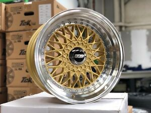 free Shipping New 16x9j Bbs Rs Classic Wheel set Of 4 Gold Honda Toyota Kia