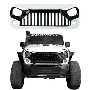Front Gladiator Grille In Gloss Black Painted White 07 18 Jeep Wrangler Jk