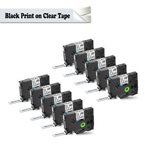 10pk For Brother P touch Pt 1010 Black On Clear Label Tape 1 2 Tz 131 Tze 131