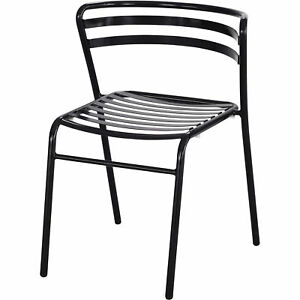 Mayline Safco Cogo Steel Outdoor indoor Stack Chairs 1 Pair Black Model 4360bl