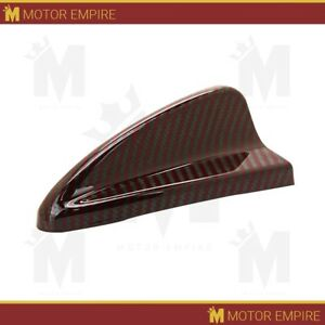 Universal Gloss Real Carbon Fiber Red Roof Shark Fin Dummy Car Auto Antenna