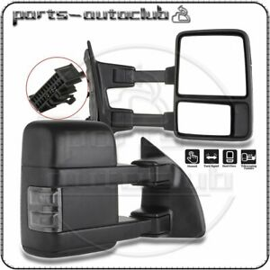 For 1999 2016 Ford F250 Super Duty Manual Side Black Towing Mirrors Pair