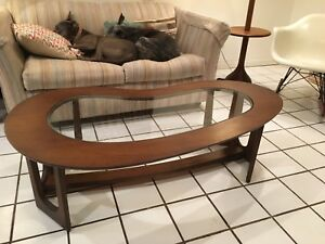 Mcm Bimorphic Kidney Shaped Rosewood Coffee Table Eames Era Wormley Pearsall