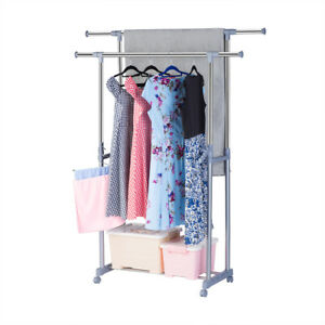 Rolling Clothes Rack Double Rail Hanging Garment Clothes Bar Hanger Adjustable