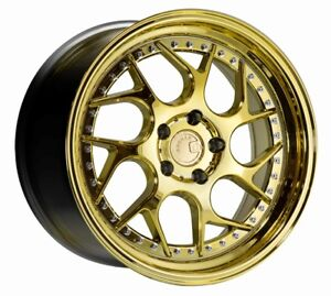 18x8 5 Aodhan Ds01 5x108 35 Gold Vacuum Wheels Fits Focus Svt Escort
