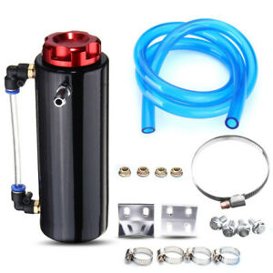 Engine Oil Reservoir Catch Can Cylinder Aluminum Tank Kit Breather Filter Kit