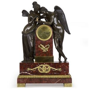 Psyche Cupid French Empire Patinated Bronze Antique Mantel Clock C 1825