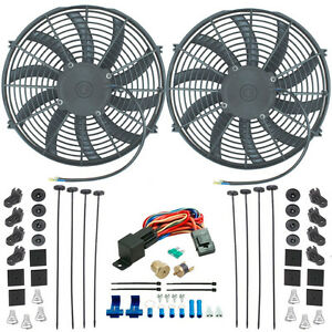 Dual 14 Inch Electric Radiator Cooling Fans 1 2 Npt Probe Fan Thermostat Kit