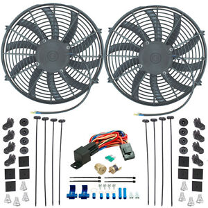 Dual 14 Inch Electric Radiator Coolant Fan s 1 8 Npt Size Probe Thermo Car Kit
