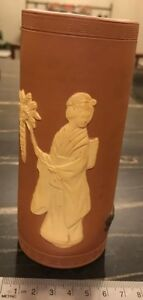 Antique Japanese Tokoname Terracotta Brush Pot Lady With Wisteria And Dog