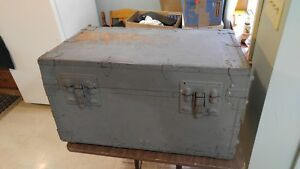 Vintage Us Military Trunk Tote Storage Box Equipment Chest Grey Coffee Table