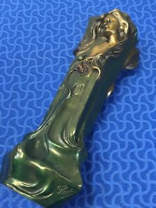 Floran Signed Bronze Art Nouveau Vase High Relief Female Both Sides 17 Tall
