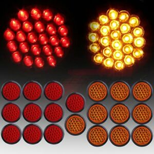 20 Red White 4 Round 24led Trailer Truck Side Marker Clearance Light Tail Lamp