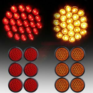 12 Red White 4 Round 24led Trailer Truck Side Marker Clearance Light Tail Lamp