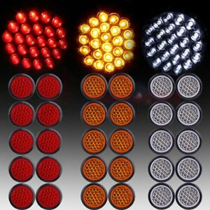 30 red Amber White 4 Round 24led Trailer Truck Side Marker Clearance Tail Light