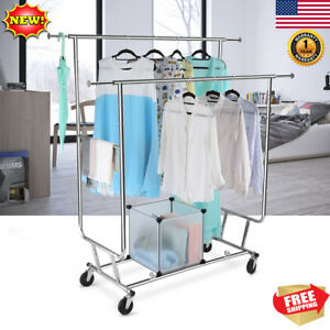 Heavy Duty Double Rail Rolling Garment Rack Collapsible Clothing Shelf Chrome Us