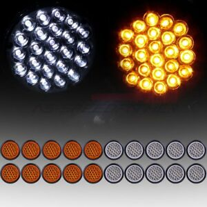 20 Amber White 4 Round 24led Trailer Truck Side Marker Clearance Tail Light