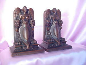Deco 20s Vintage Jennings Brothers Lady Of The Theatre Comedy Tragedy Bookends