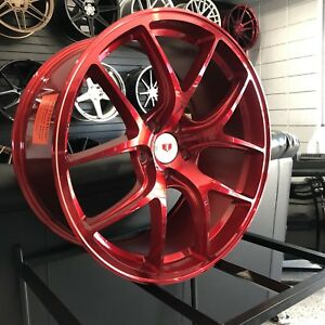 20 Candy Red Concave Style Wheels For Bmw 5x120 Staggered Rims Aggressive Fit