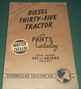 Cat Caterpillar Diesel Thirty five Tractor Dozer Parts Manual Book S n 6e1 1999