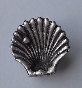 Antique Vintage Sterling Silver Realistic Shell W Pearl Button Mkd