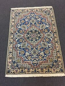 On Sale Fine Hand Knotted Persian Naein Naeen Silk Wool Blue Rug Carpet 3 X4 4