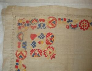 Hand Woven Embroidered Linen Eastern Europe Table Cloth Tablecloth C 1880 1920s