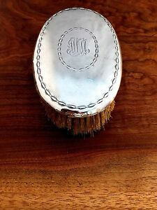 Tiffany Co Sterling Silver Oval Clothes Hair Brush Script Monogram 2